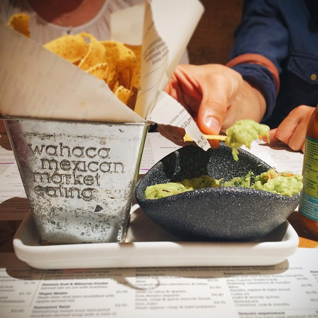 Much needed guac & chips at Wahaca after spending the morning styling up a storm at the #WExAtMine event at @westelmlondon ?