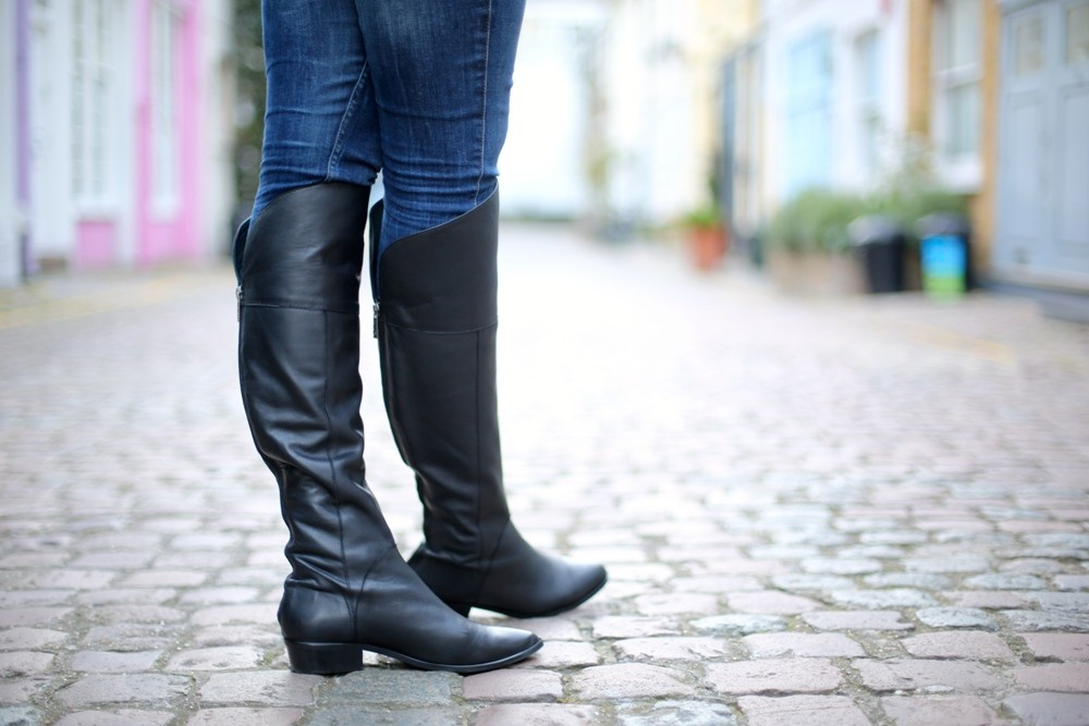 DUO Romi Black Leather Knee High Boots 002