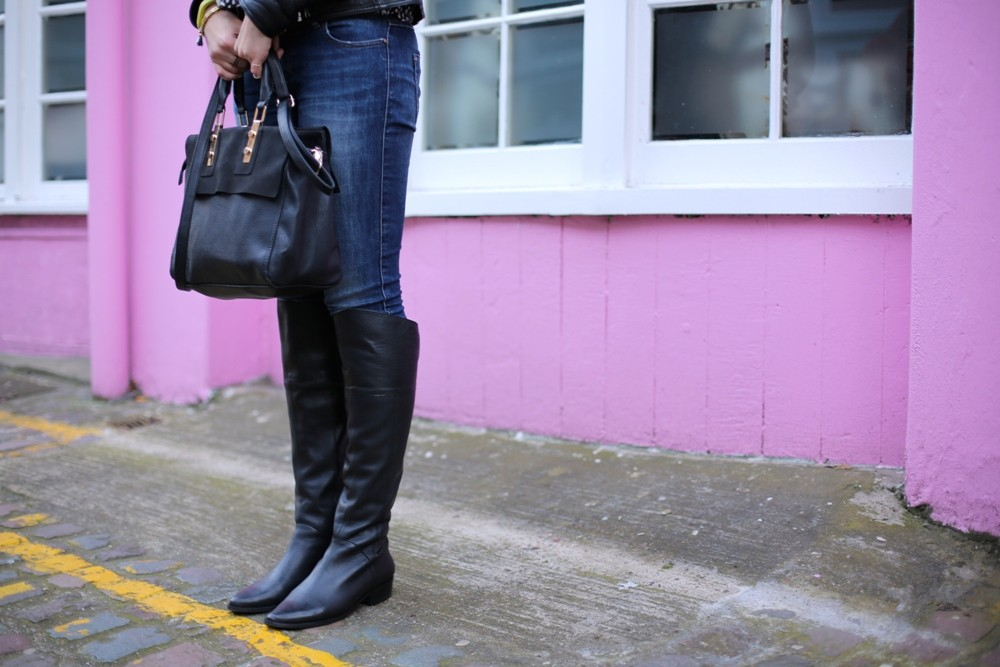 DUO Romi Black Leather Knee High Boots 004